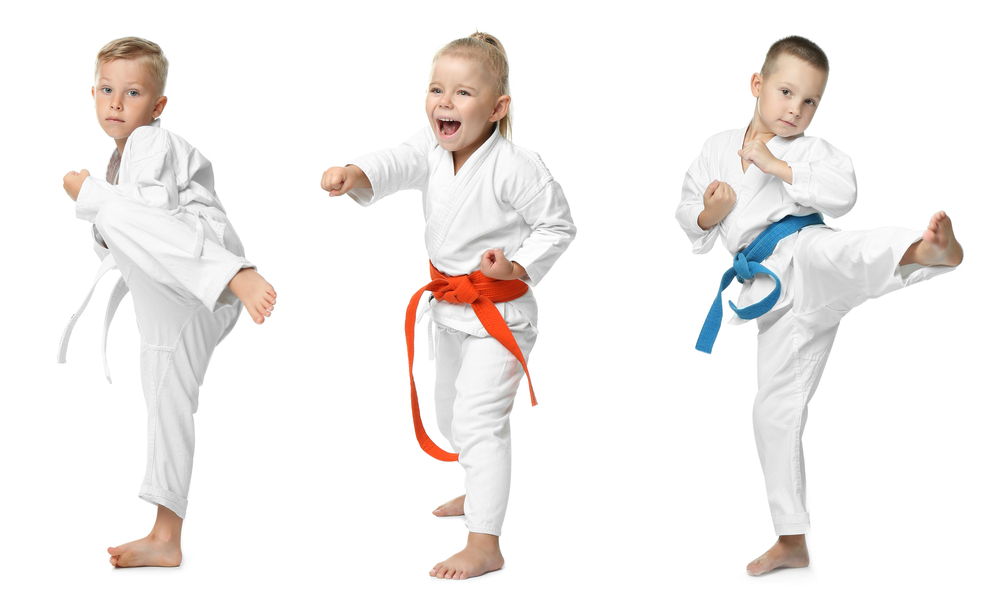 Collage,With,Little,Children,Practising,Karate,On,White,Background